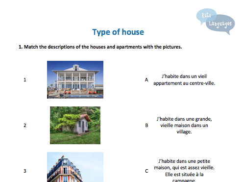 Key Stage 3 French - Types of houses - New GCSE-style activities