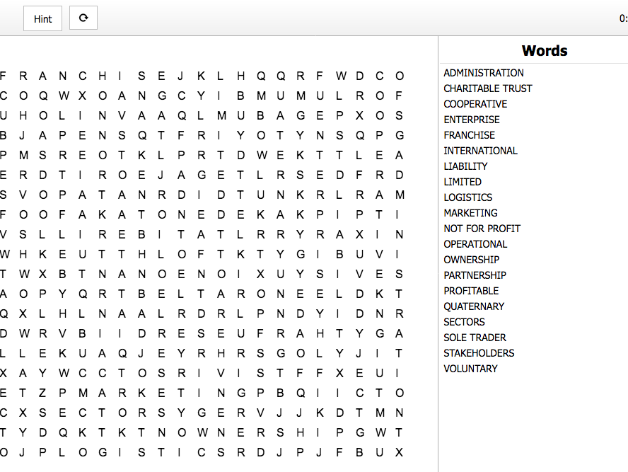 U1 The Business Enterprise Environment Word Search