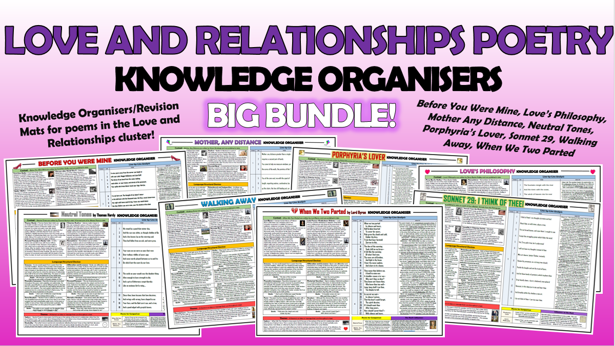 Love and Relationships Poetry Knowledge Organisers Big Bundle!