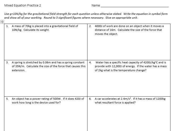 Physics Equations Practice Questions