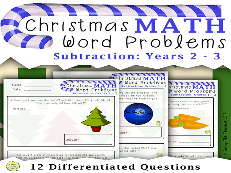 Christmas Subtraction Word Problems: Grades 1 - 2
