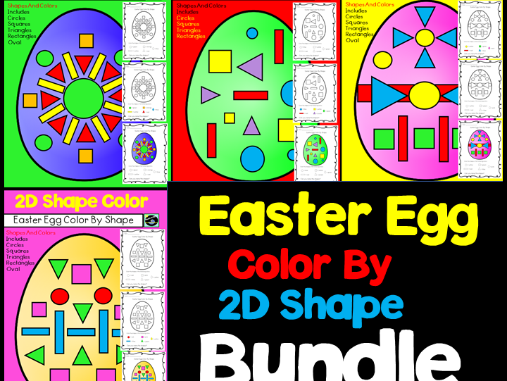 Easter Egg Color By 2D Shape Bundle