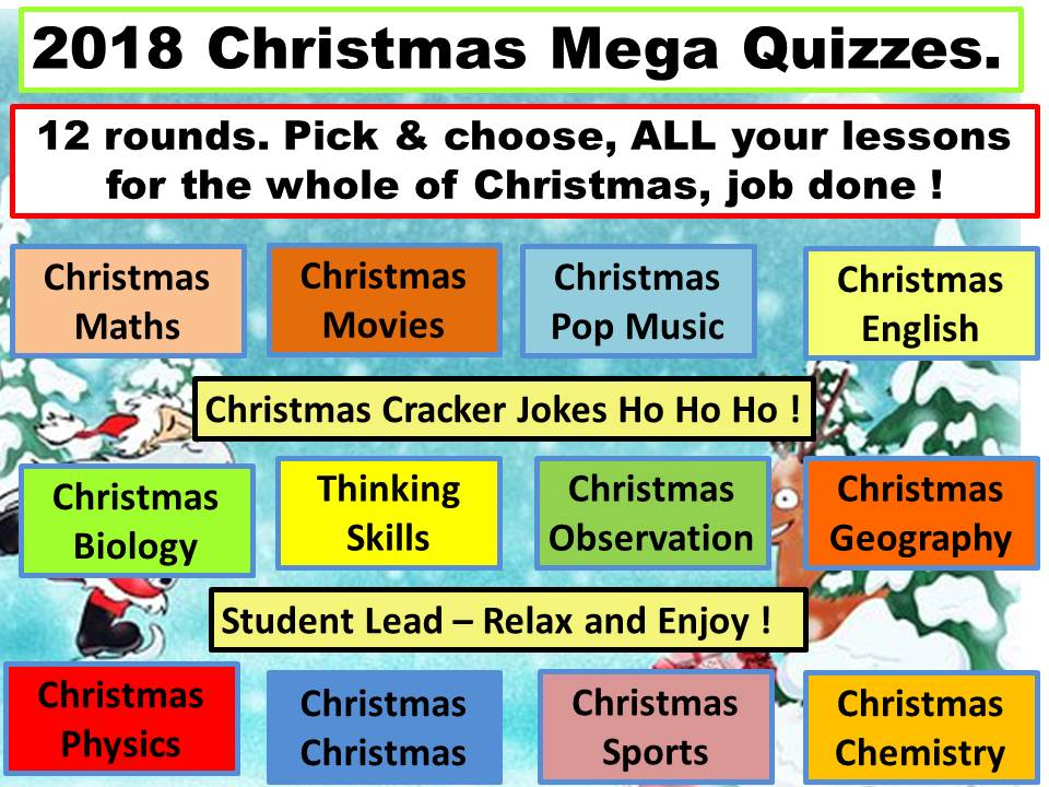 Christmas mega pack of Christmas activities, Christmas quizzes. Xmas. Updated 2018. Best seller.