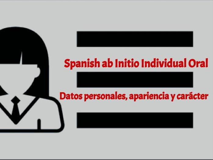 Datos personales, apariencia y carácter - Oral booklet practice
