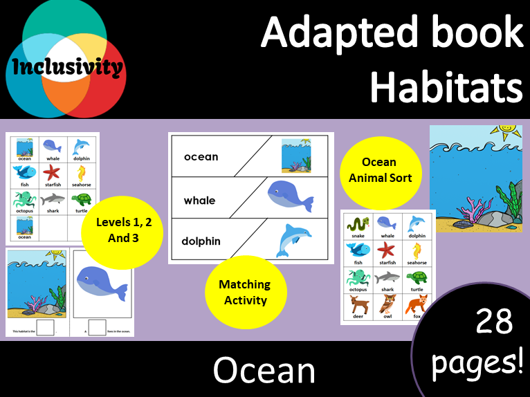 Adapted book Habitat ocean Levels 1, 2 and 3; including matching activity and ocean animal sort