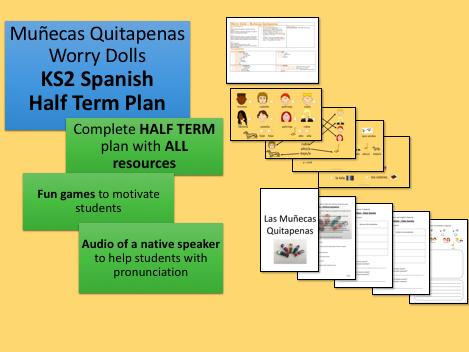 Muñecas Quitapenas Worry Dolls KS2 Spanish   Half Term Plan