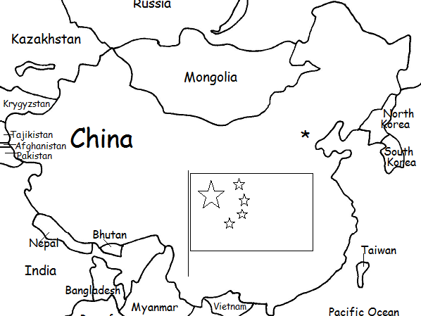 CHINA - Printable Handouts with map and flag