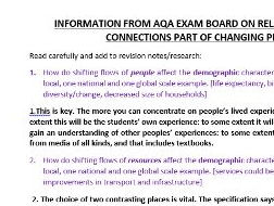 Changing Places AQA resources pack inc. advice from the board!