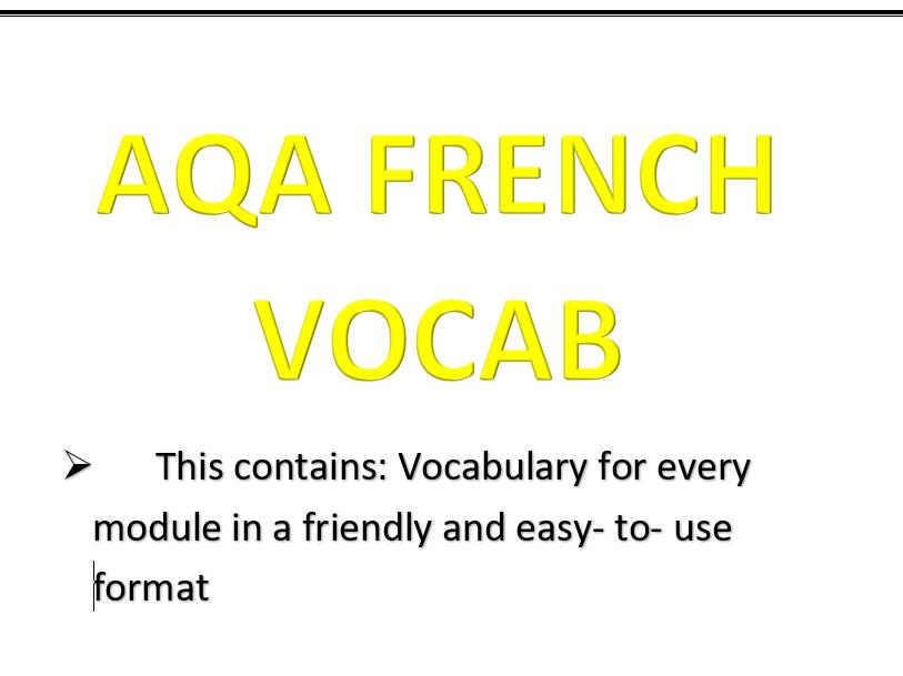 AQA (9-1) GSCE FRENCH VOCAB