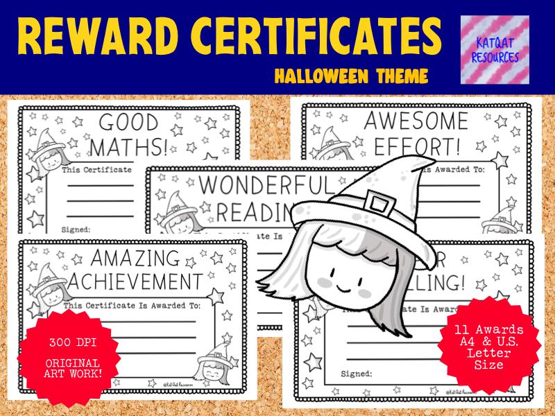 Printable  Reward Certificates Printable Black Line Illustrations - Many Subjects