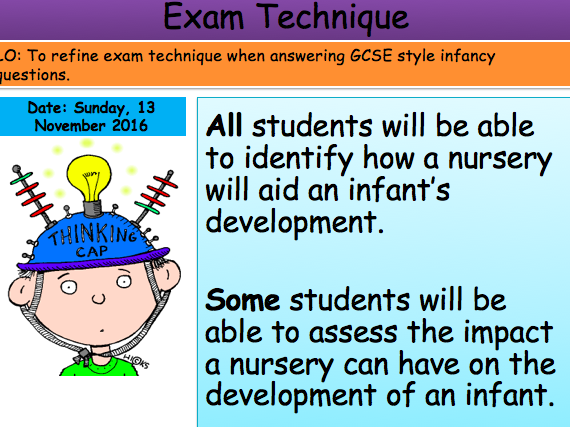 Health and Social Care Infancy Exam Technique Lesson Unit 1 Edexcel