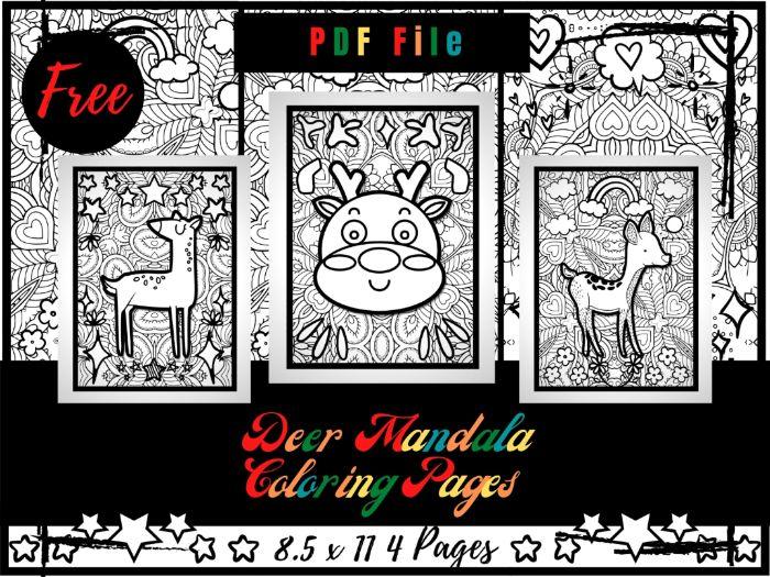 FREE Deer Mandala Colouring Pages For Kids, Mandala Printable Colouring Sheets
