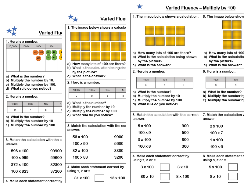 White Rose Maths - Year 4 - Block 4 - Multiply by 100 (Varied Fluency)