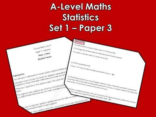 A-Level Maths 2017: Mock Paper 3 (Statistics)