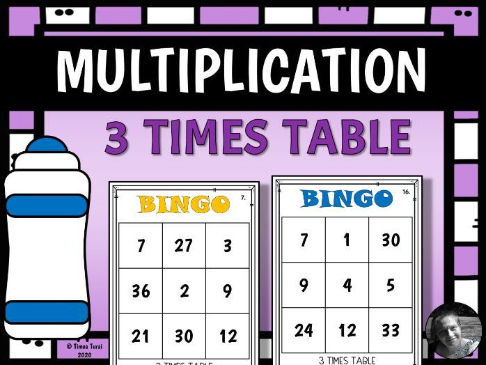 3 Times Table Multiplication and Division Bingo