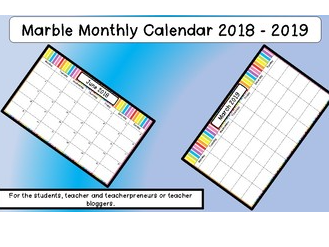 Multi Coloured Striped Monthly Calendar 2018 -2019