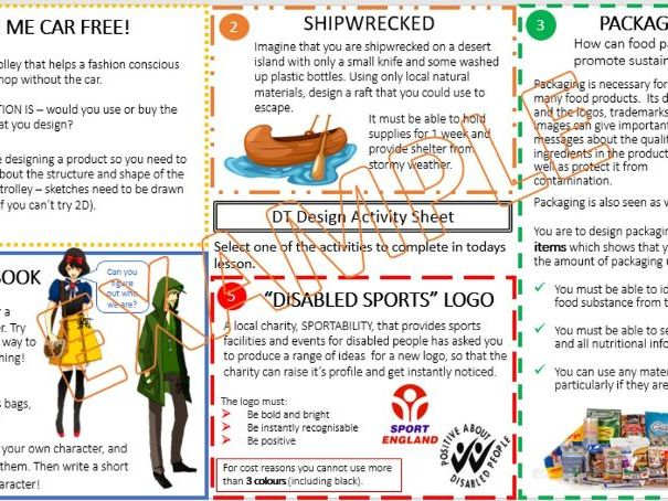 Design and Technology COVER activity sheet