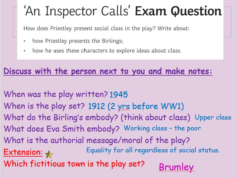 Social Class Exam Prep An Inspector Calls