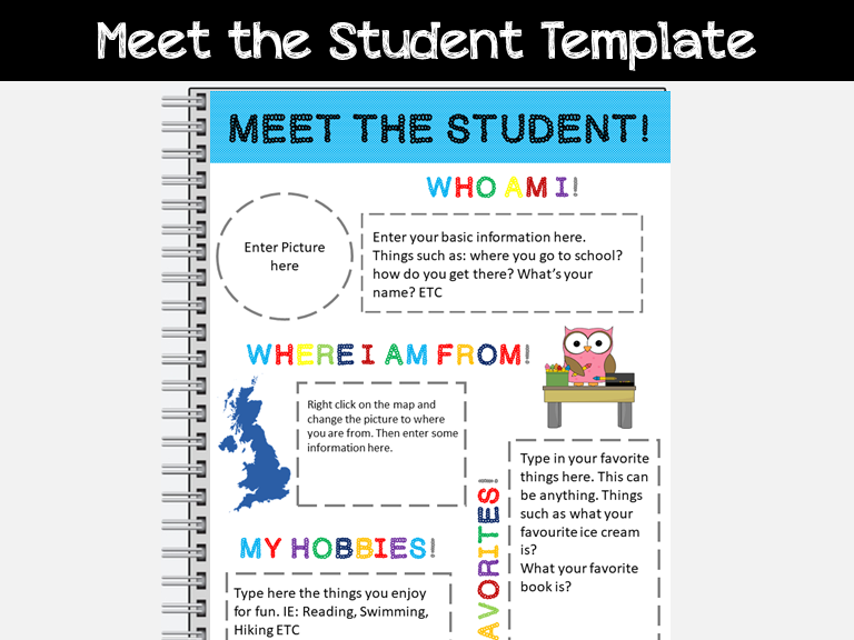 Back to School: Meet the Student: Fully Editable: PowerPoint Template: Fun Stuff