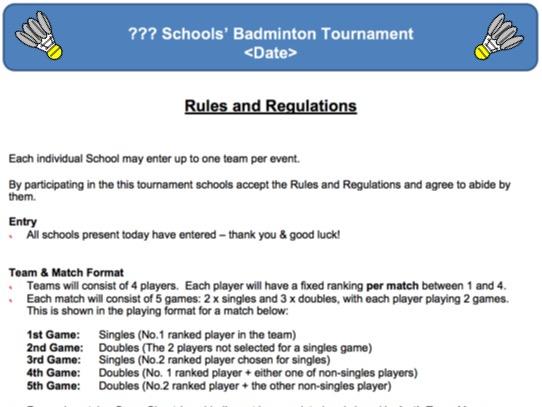 PE Dept - Badminton Schools' Tment Organisers Pack
