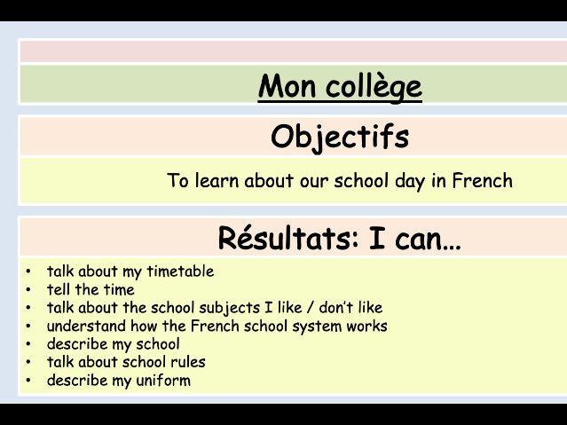 GCSE French - School topic