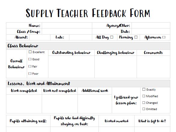 Supply/Substitute Teacher Feedback Form
