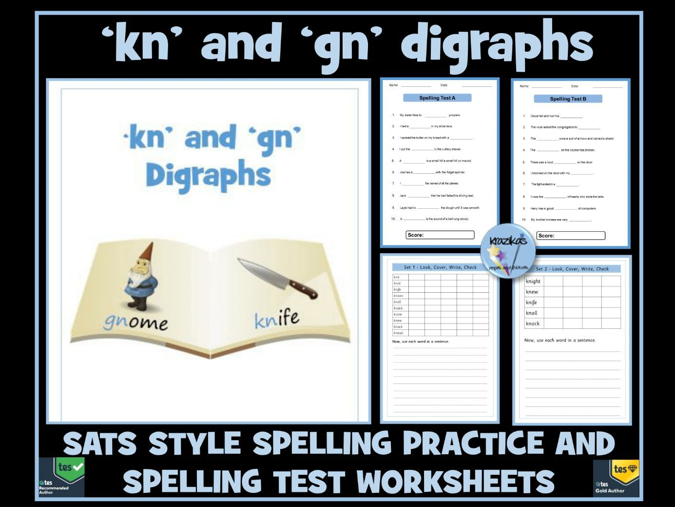 kn and gn digraphs: Spelling Practice and Spelling Tests
