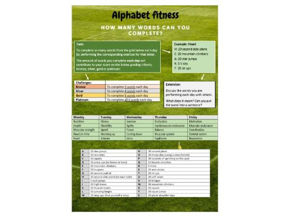 Core PE - Lockdown fitness resource - Alphabet fitness