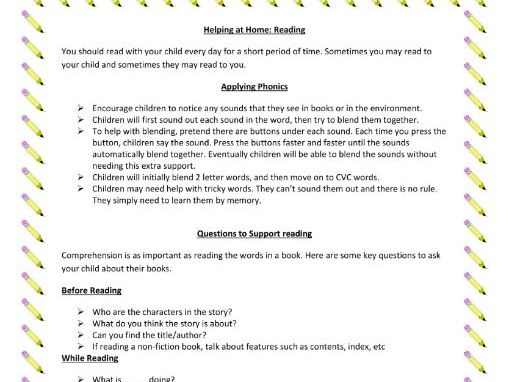 Printable Sheet of Home Learning Activities for Reading (EYFS)