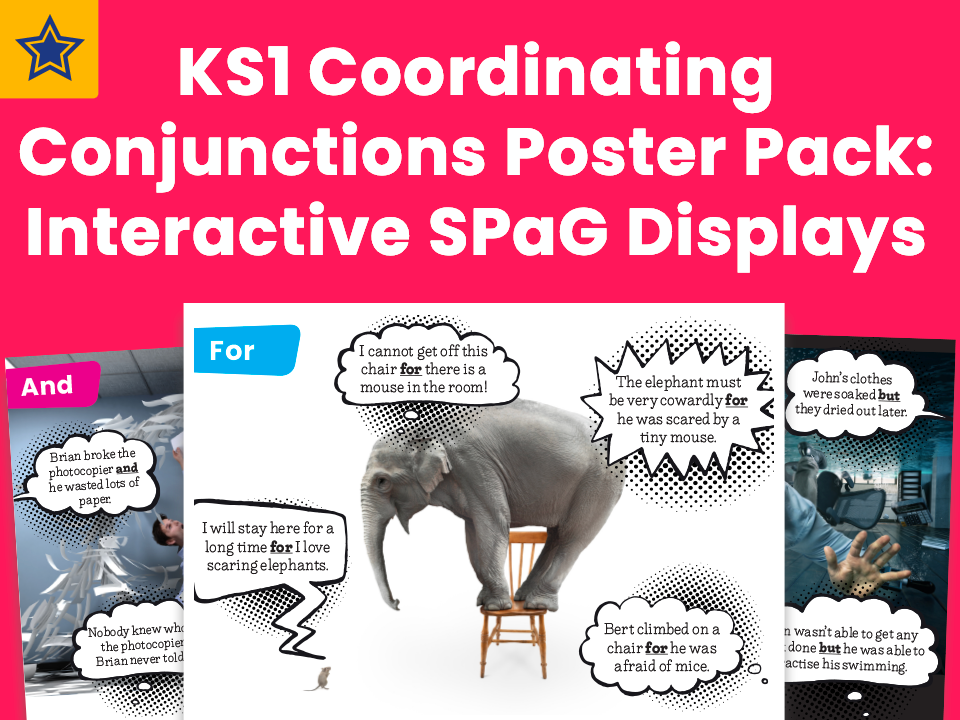 KS1 Coordinating Conjunctions Poster Pack: Interactive SPaG Displays