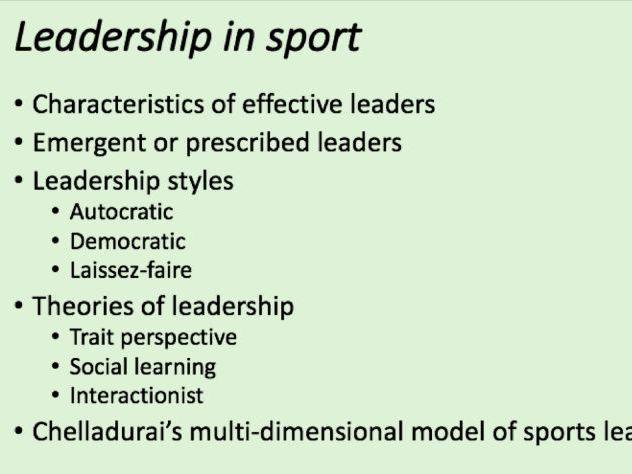 A-Level PE - Leadership in Sport