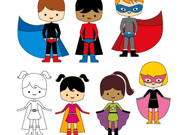 Multi cultural superheroes clipart - kids in superhero costumes