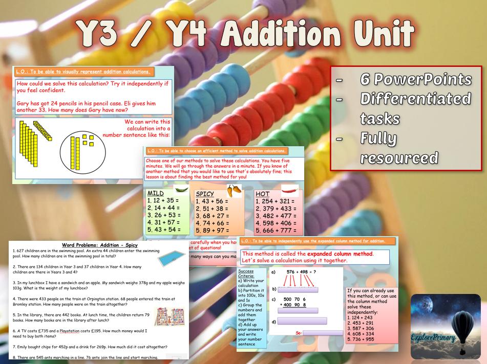 Y3 / Y4 Addition Maths Mastery Unit - 6 lessons
