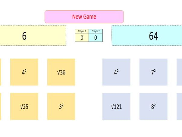 Interactive Squares & Roots Game for Whiteboard Use