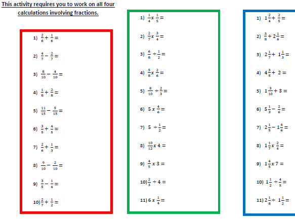7 Differentiated Worksheets on Fractions for Year 6