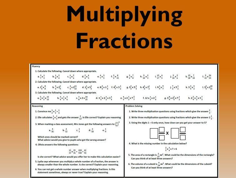 Multiplying / Multiplication of Fractions Problem Solving Mastery Worksheet