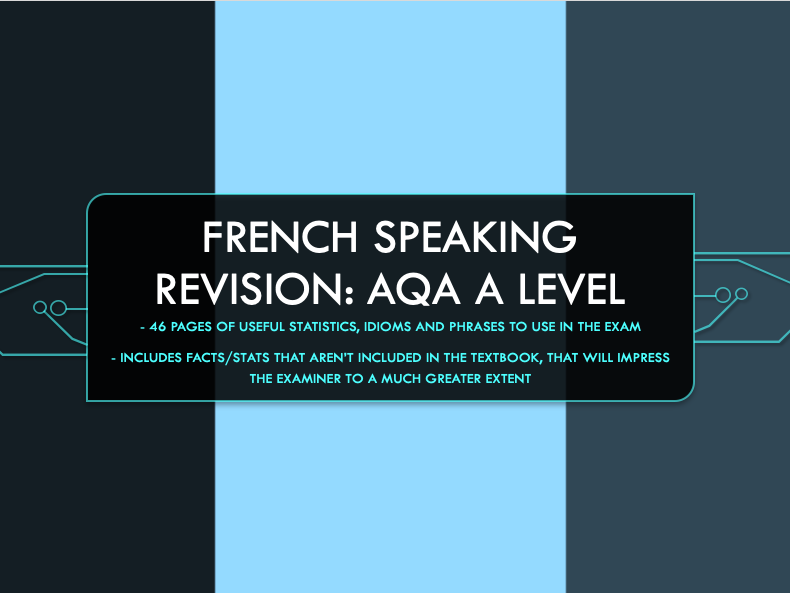 A Level French AQA Speaking Revision: Statistics and Idioms/Phrases