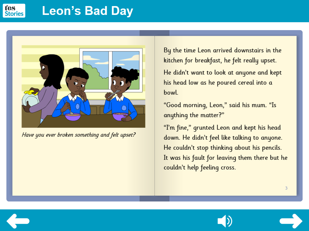 Leon's Bad Day Interactive Storybook - Independent Reader Level - PSHE KS1