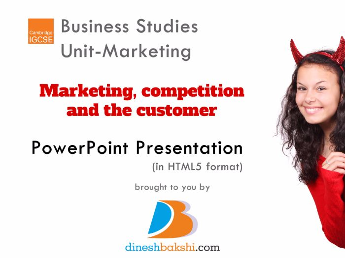 Marketing, competition and the customer - IGCSE Business Studies
