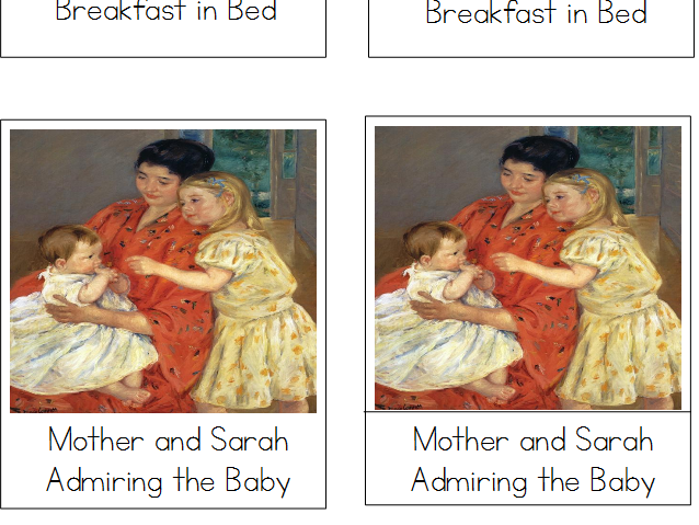 Mary Cassatt Montessori 3 - Part Cards