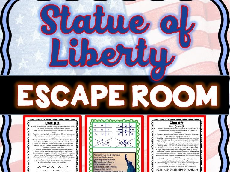Statue of Liberty ESCAPE ROOM: Ellis Island, Immigration, 4th of July - NO PREP!