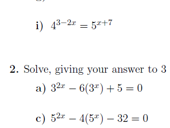 Exponential functions and equations worksheets (with solutions)