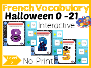 French Numbers 1 - 21 - No Print Interactive Halloween Game