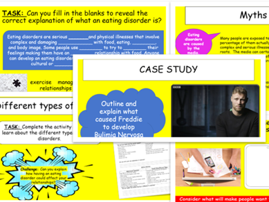Eating Disorders Lesson and Workpack