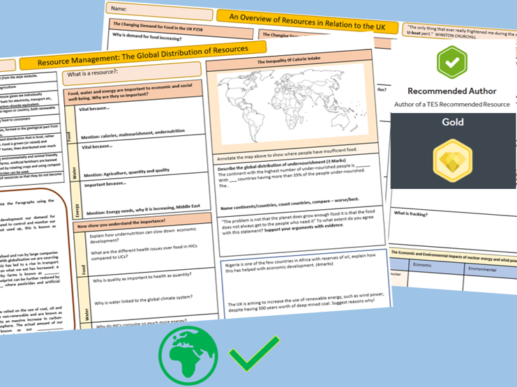 AQA 9-1: A3 note taking template, The Global Distribution of Resources