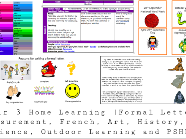 Y3 Home Learning Pack- Across the curriculum