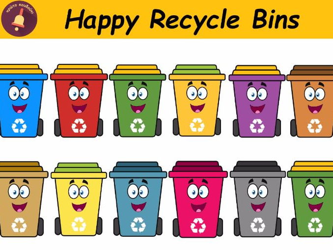 Happy Recycle Bins Clipart
