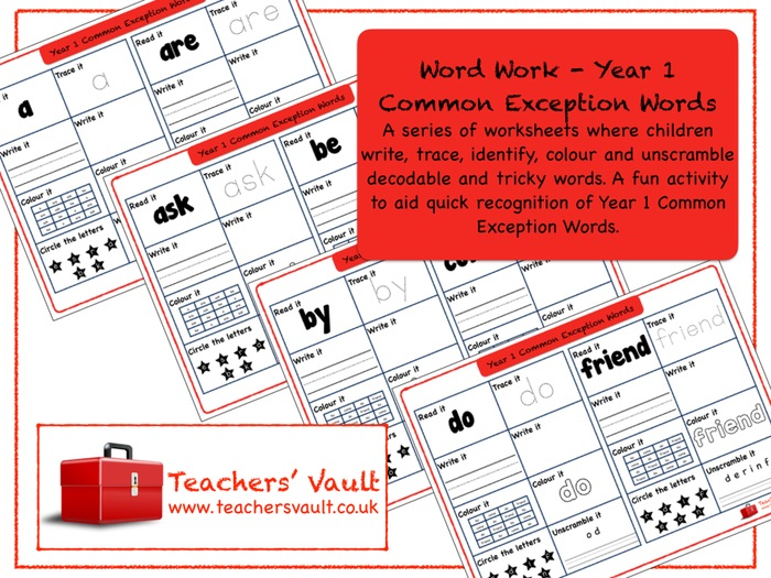 Word Work - Year 1 Common Exception Words