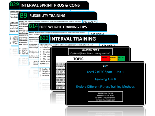 Level 2 BTEC Sport Unit 1 EXAM - Learning Aim B: Fitness Training Methods