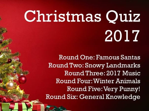 Christmas Quiz 2017 (Includes music round)